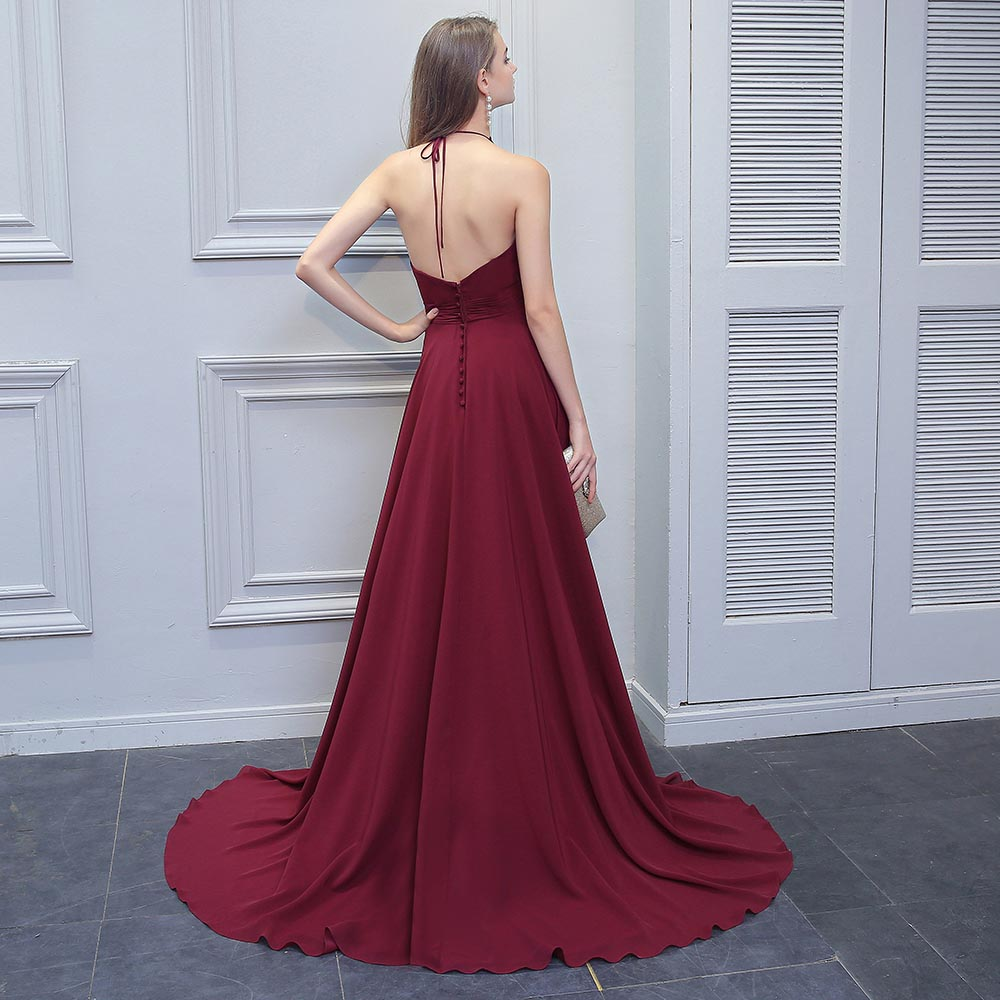 BeryLove Fashion Burgundy Prom Dresses 2018 Long Beaded Halter Backless  Evening Dresses Formal Dress Special Occasion Gowns -in Evening Dresses  from ... cbdf9ce2aa8b