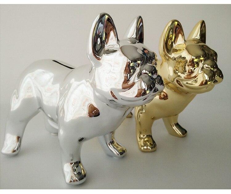 Adornos creativos de Bulldog Francés decoración de escritorio chapado en oro/plata cerámica lindo cerdito sala de estar francés cubo Decoración - 6