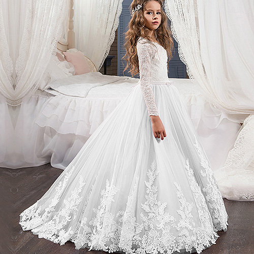 Elegant Lace O Neck Long Sleeves Flower Girl Dress First Communion White Ivory Girls Children Gown