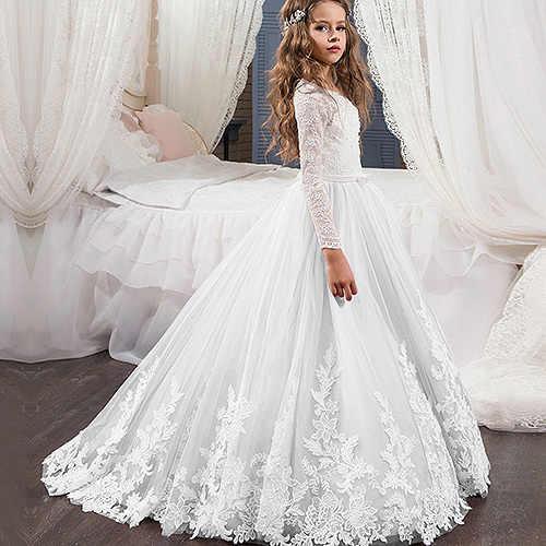 אלגנטי תחרה O צוואר ארוך שרוולים פרח שמלת הילדה ראשית הקודש לבן שנהב בנות ילדי שמלת שמלות אלגנטיות