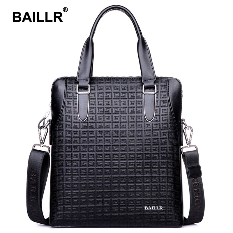 BAILLR Brand Genuine Leather Plaid Men s Shoulder Bag Business Messenger Bag Men Cowhide Leather Handbag