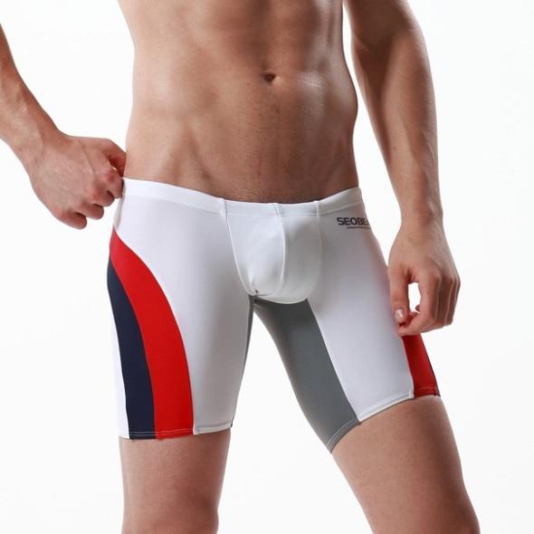 Low Rise Pouch Sexy Men Swimwear Swimsuit Trunks Long Bikini Boxers Shorts Man Beach Sea Board  Wear Shorts SEOBEAN Brand