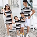 Family Matching Outfit Cotton Family Set Striped Mother Daughter Dress Father Son T shirt+Shorts 2pcs Clothing Sets 3XL HH18