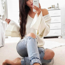 New V Neck Flare Long Sleeve Autumn Women Sweaters Casual Tops Knitted Pullover Casual Streetwear White Gray Knit  Asia Garden
