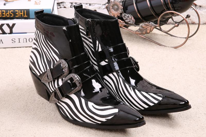 Choudory New Winter Shoes leather Men Pointed Toe Buckle Mens Dress Boots zebra strip Men Height Inceased Mens High heels