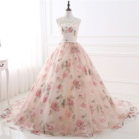 Bealegantom 2019 Flower Print Ball Gown Quinceanera Dresses Beaded Lace Up Sweet 16 Dress Party Vestidos De 15 Anos QA1552