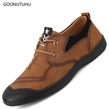 Fashion trend men's shoes casual retro leather breathable urban young shoe man autumn new khaki and black platform shoes for men цена