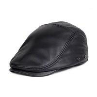 Svadilfari Wholesale Genuine Leather Windproof Duckbill Man Beret Cap Senior Men Winter Autumn Black Brown Warm