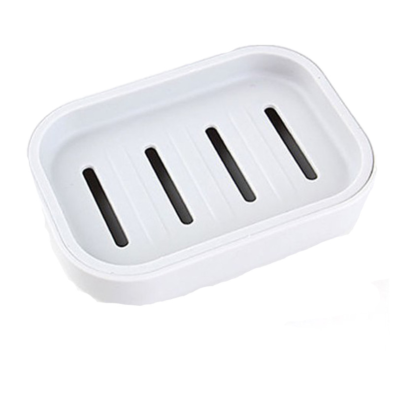 Plastic Soap Dishes Dispenser Bathroom Double Soap Case Holder Non-slip Drain Container Box Set Gray/White/Green cute cartoon rabbit bathroom soap box green