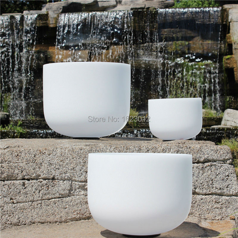 10 Inch D or F  Frosted Chakra Quartz Crystal Singing Bowl 7 inch and 9 inch 2pcs frosted crystal singing bowls