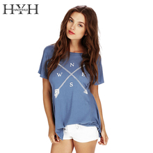 HYH HAOYIHUI Women T-shirt Short Sleeve Letter Print Deep V Back Pleated Slim T-shirt Casual Loose Streetwear Female T-shirt
