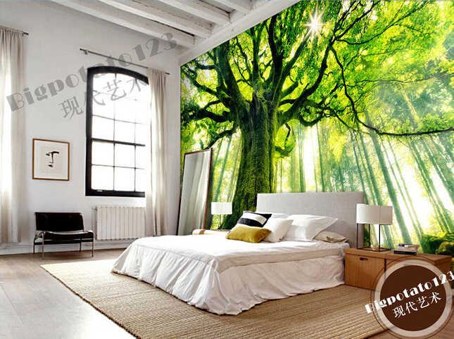 Personalizado papel DE parede 3d... árbol Verde bosque sol murales para la sala de la TV de pared papel pintado