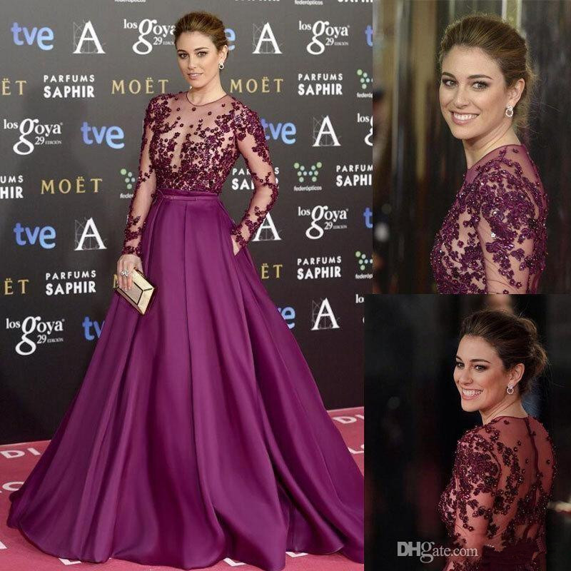 Purple Muslim Evening Dresses 2019 A-line Long Sleeves Appliques Beaded Islamic Dubai Saudi Arabic Long Evening Gown Prom Dress
