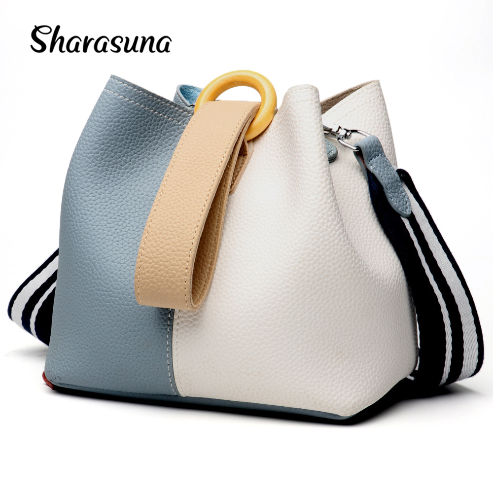 2018 New Genuine Leather women's bag, bucket bag, European and American fashion handbags, one shoulder bags satchel hansomfy womens handbags solid patent leather shoulder bag european and american style versatile female vintage bucket brand bag