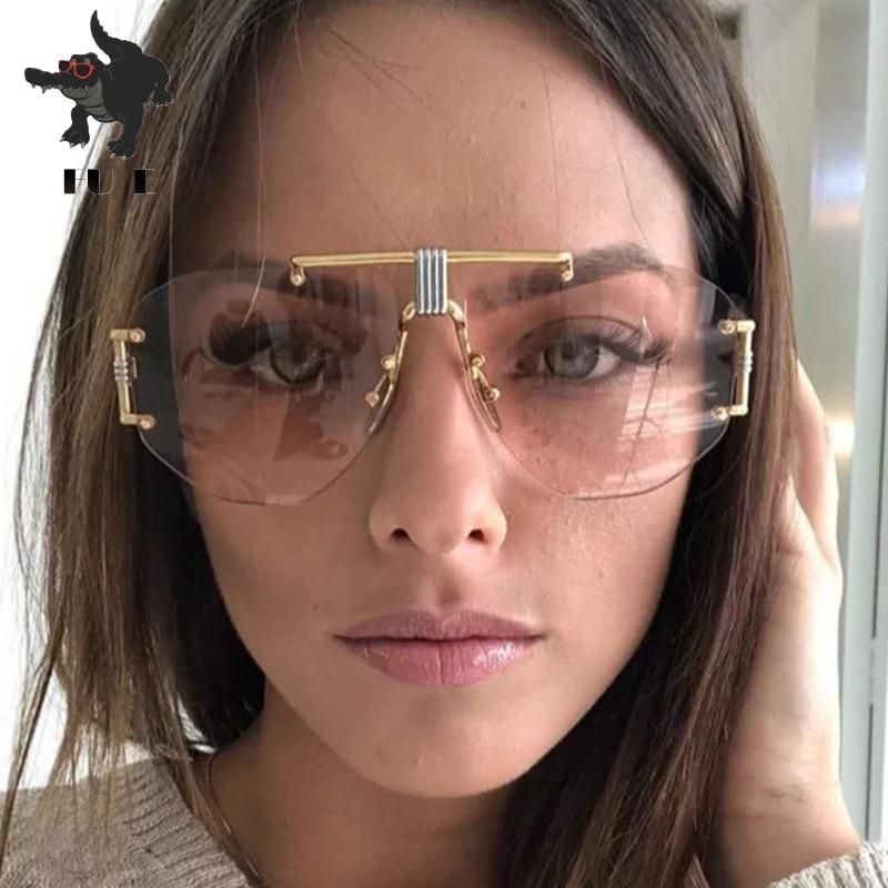 FU E 2019 gafas de sol a la moda sin marco para mujer nueva marca de diseñador Punk montura grande gafas de sol Retro hombres UV400 Oculos de sol