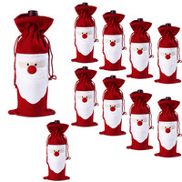 lovely pet New 10PC Wine Bottle Cover Bags Decoration Home Party Santa Claus Christmas Decoration Drop Shipping 70707