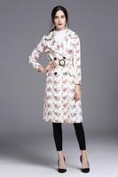 High quality designs flroal print windbreak coat 2018 spring Runways belted trench coat Fashion slim elegant women overcots