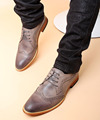 Hot Selling Men's Grey Oxford Shoes Vallage Pointed Toe Black Leather Casual Shoes Carved Brogue Man Shoes Size 37-44 Brown