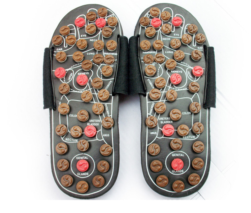 906f7953a22 New Healthy Reflexology Acupuncture WOODEN MASSAGE SANDALS Shoes Health  Acupunture Spring Rotary Foot Massage Slippers Feet Care-in Massage    Relaxation ...