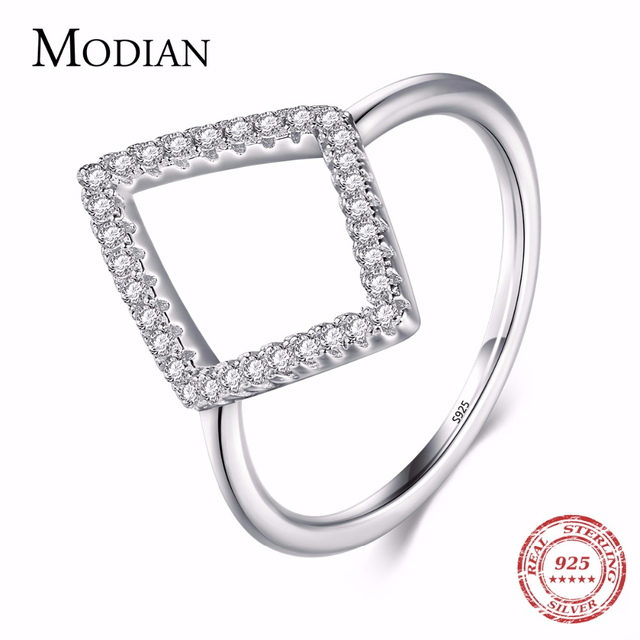Instagram Design Genuine 925 Sterling Silver Geometric Ring Fashion Cubic Zirconia Finger For Women Engagement Simple Jewelry