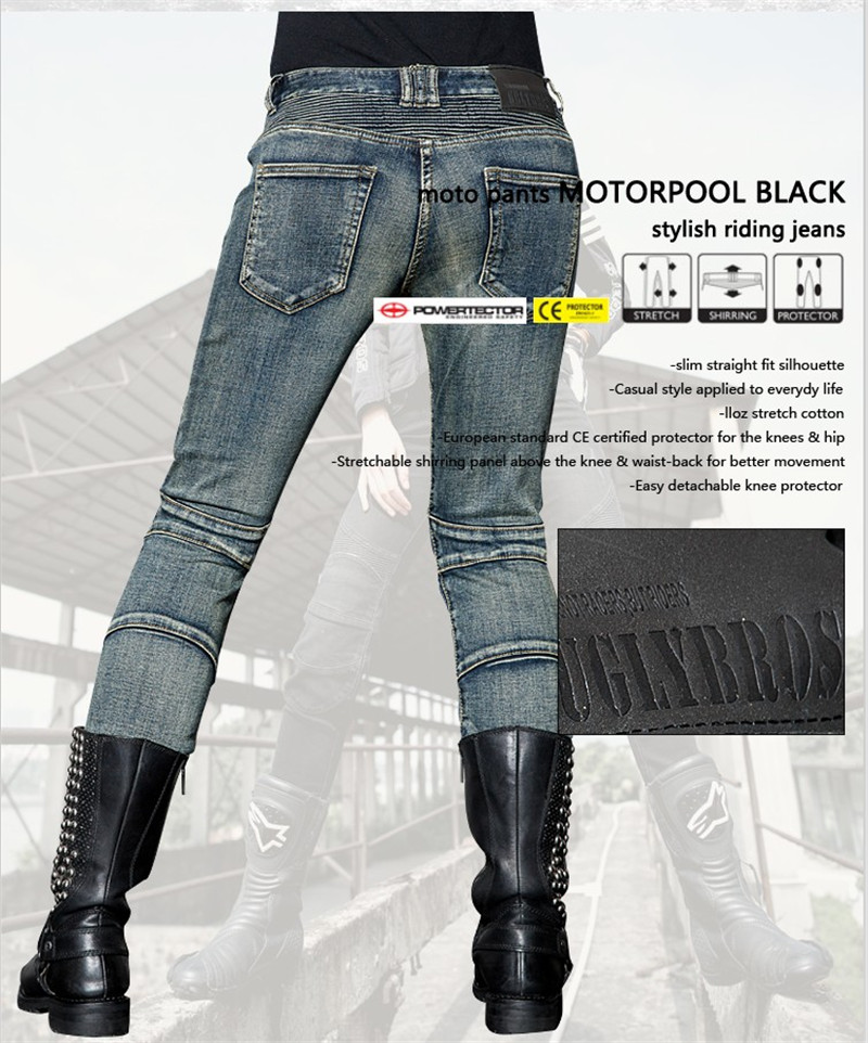 Free Shipping 2018 women Uglybros Featherbed jeans motorcycle protective pants racing jeans black moto pants size 25 26 27 in Trousers from Automobiles Motorcycles