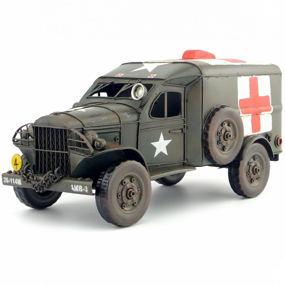 Antique classical car model DODGE USA ARMY TRUCK tinplate car handmade rescue truck red cross