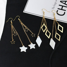 Fashion style long lovely dazzle colour universe earth stars Ms earrings fashion earrings wholesale me 01 fashion dazzle colour s shaped earrings deep pink yellow multi color pair