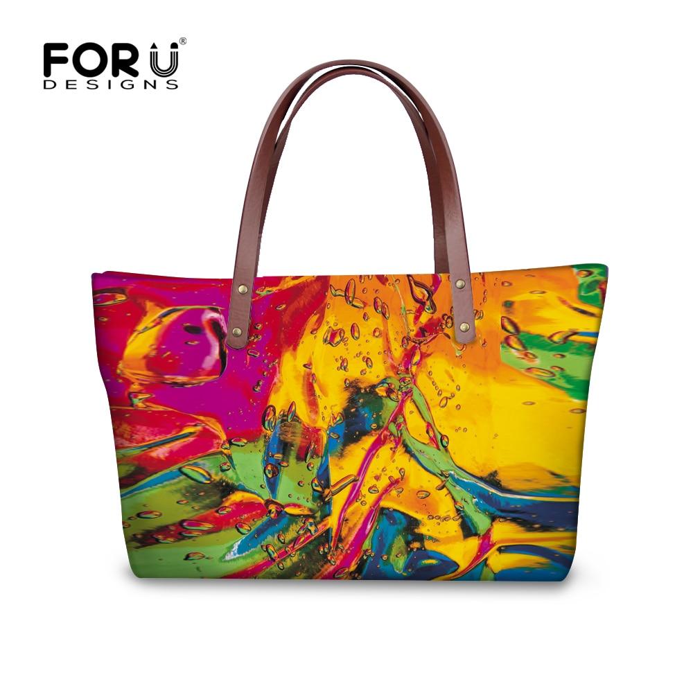 цена famous oil painting women handbags casual large women's shoulder bag top brand top-handle bags high quality ladies tote purse онлайн в 2017 году