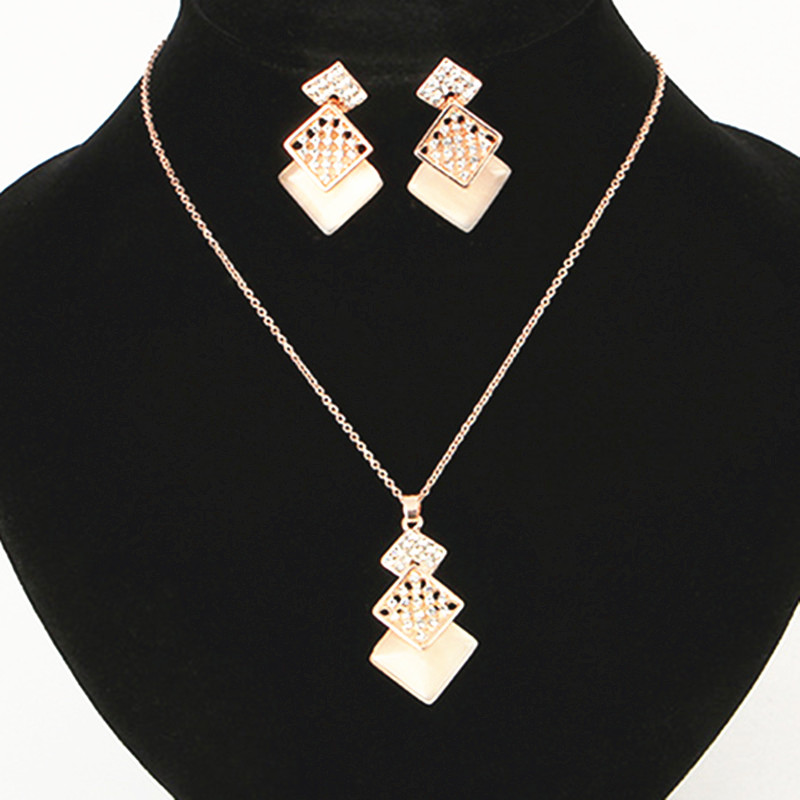 New Fashion European & American Style Opal Rhombus Crystal Jewelry Sets for Women Chain Necklace Earrings Bridal Wedding Gift