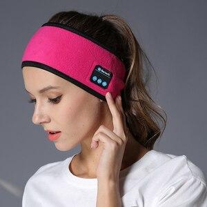 Image 1 - אלחוטי Bluetooth אוזניות שינה יוגה סרט כובע רך חם ספורט כובע חכם חכם רמקול סטריאו צעיף אוזניות עם מיקרופון
