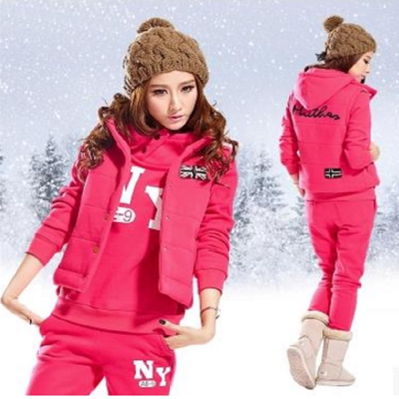 Autumn And Winter New Fashion Women Suit Warm Women's Tracksuits Casual Sets With A Hood Fleece Sweatshirt Three Pieces Set