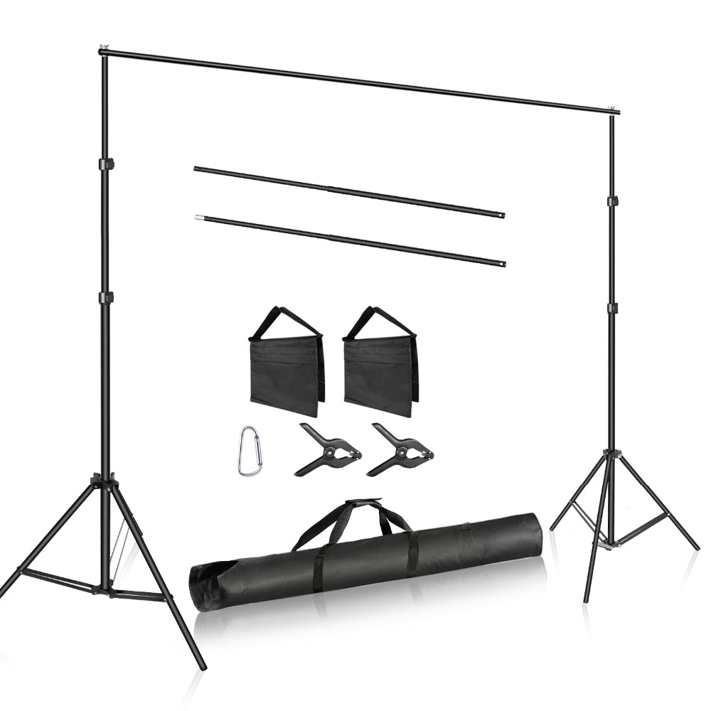 Neewer Photo Studio Adjustable 3m Wide Cross Bar 2m Tall Background Stand Backdrop Support System With 2 Backdrop Clamps