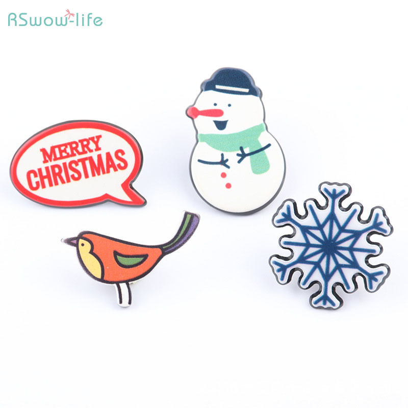 Cute Cartoon Brooch Badge Resin Pin Badges Snowman Bird Snowflake Christmas Section For Gifts Presented To Friends And Family