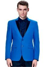 Custom Made Royal Blue Groom Tuxedos Black Lapel Blazer Slim Fit Mens Wedding Prom Party Suits
