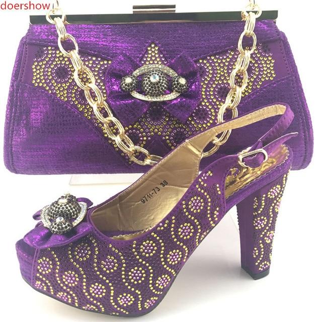 Doershow Top Quality Rhinestone Green Wedding Evening Shoes And Bag Set Popular Italian