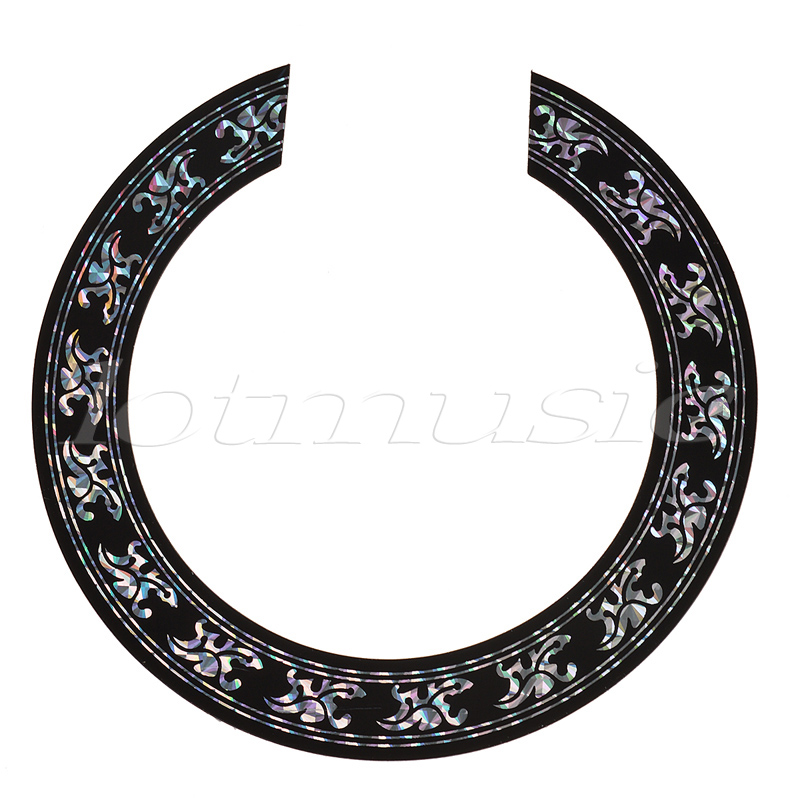 Soundhole Rosette Decal Sticker for Acoustic Classical Guitar Parts Black with Chrome Pattern