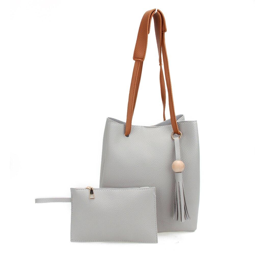 Brand Designer Composit Bag Korean Fashion Tassels Bead Soft Litchi PU  Leather Bucket Bag For Women Tote Crossbody Shoulder Bag 6009863abbcd3