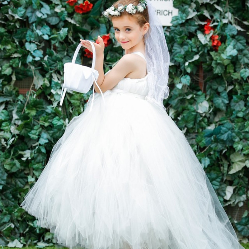 2016 New Arrival Children Dresses Ivory Champagne Flower Girl Dress with Long Train Tulle Vintage Girl Ball Gown For Wedding 4pcs new for ball uff bes m18mg noc80b s04g
