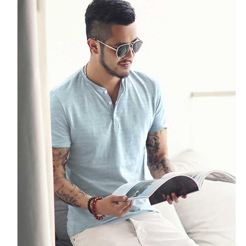 Бамбуковая Хлопковая мужская футболка с Короткими Рукавами Летняя Повседневная футболка с воротником «Генрих» для метросексуалов мужские тонкие новые брендовые футболки в европейском стиле T364