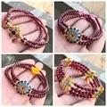 3 Layers Natural Garnet Bracelet Hand Made 4mm Bead Chalcedony Jewelry Accessories Crystal Bracelets for Women Jade Bracelet