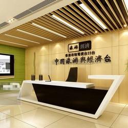 Nowy Design nowoczesny modny biały drewniany stół biurowy lub weselny stół do recepcji z dymem # QT3900 w Biurka do recepcji od Meble na