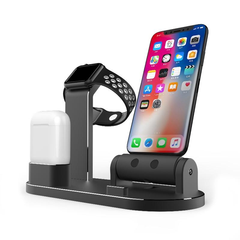 4 en 1 support de chargement de téléphone Station d'accueil pour iPhone X 8 7 6 6 S 5 S SE support de support pour AirPods iPad Air Mini pour Apple iWatch
