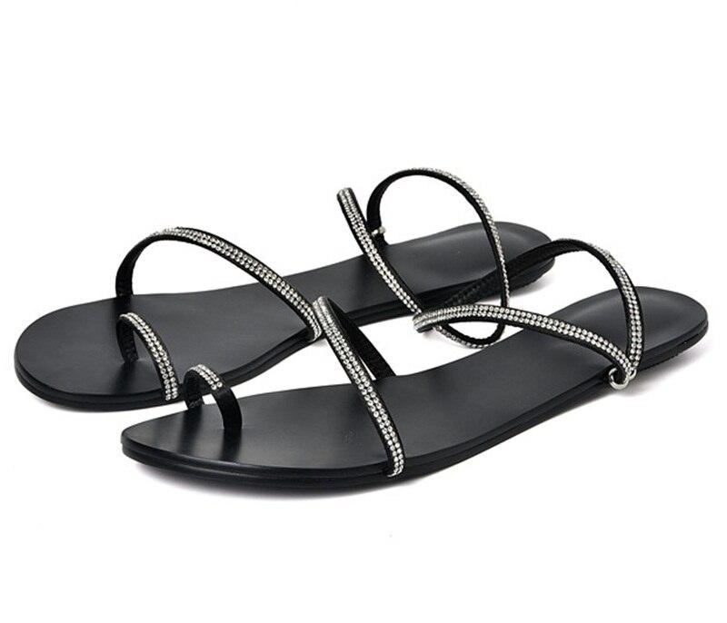 Tongs De black Satin Confortables Ouvert Mode Chaussures Nouvelle Sandales Orteil Femmes Cuir D'été Strass Gladiateur Champagne 2018 En Sexy URawnq6f6