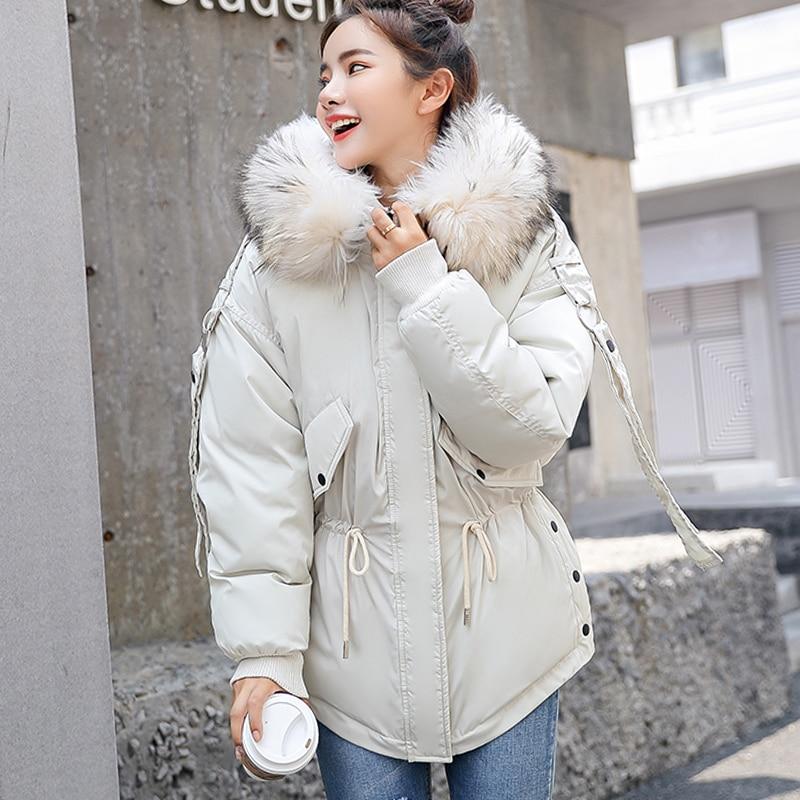 Женская куртка с капюшоном FTLZZ, зимняя парка с меховым воротником и хлопковой подкладкой