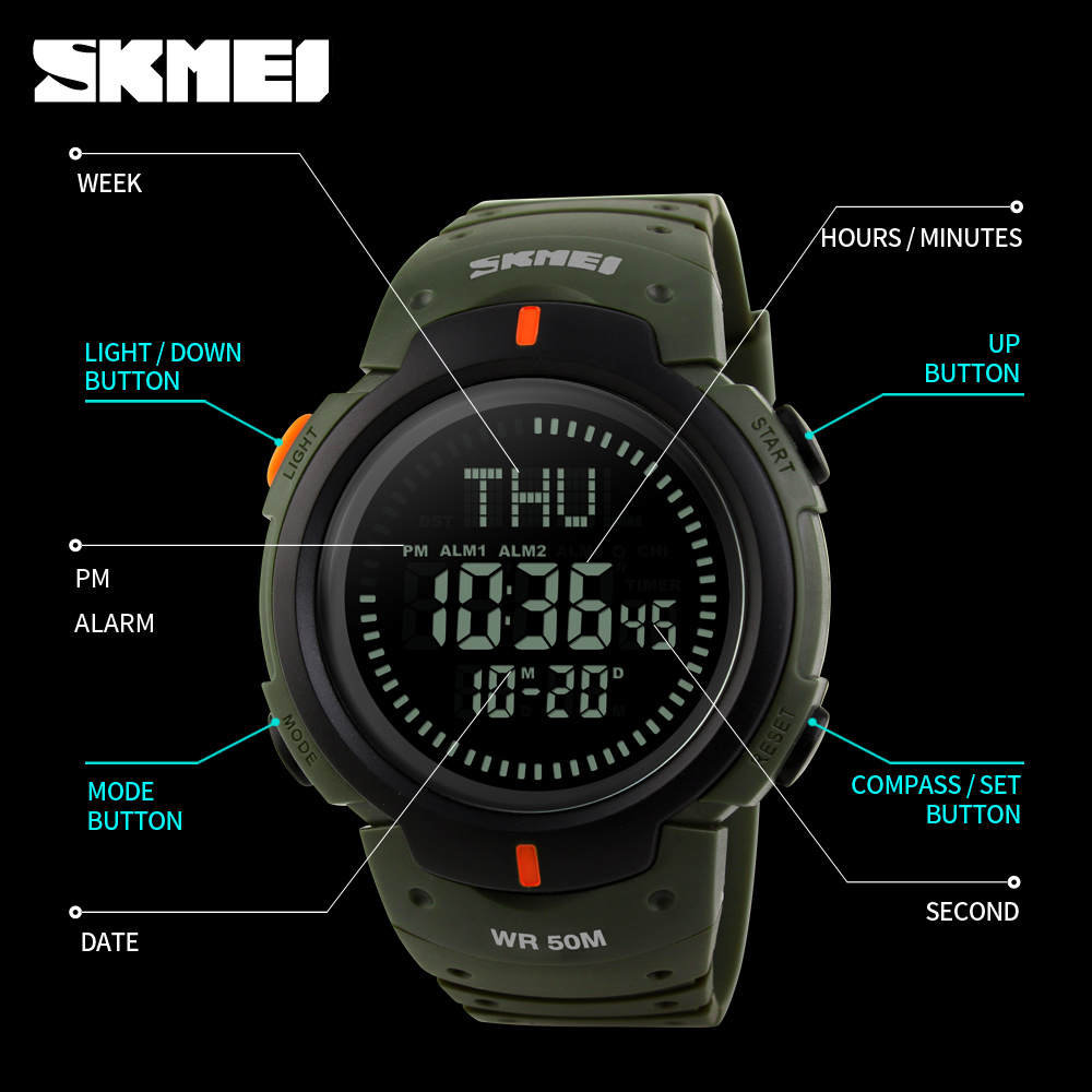 Digital Watches Watches Honest Sports Watches Men Pedometer Calories Digital Watch Women Altimeter Barometer Compass Thermometer Skmei Weather Reloj Hombre