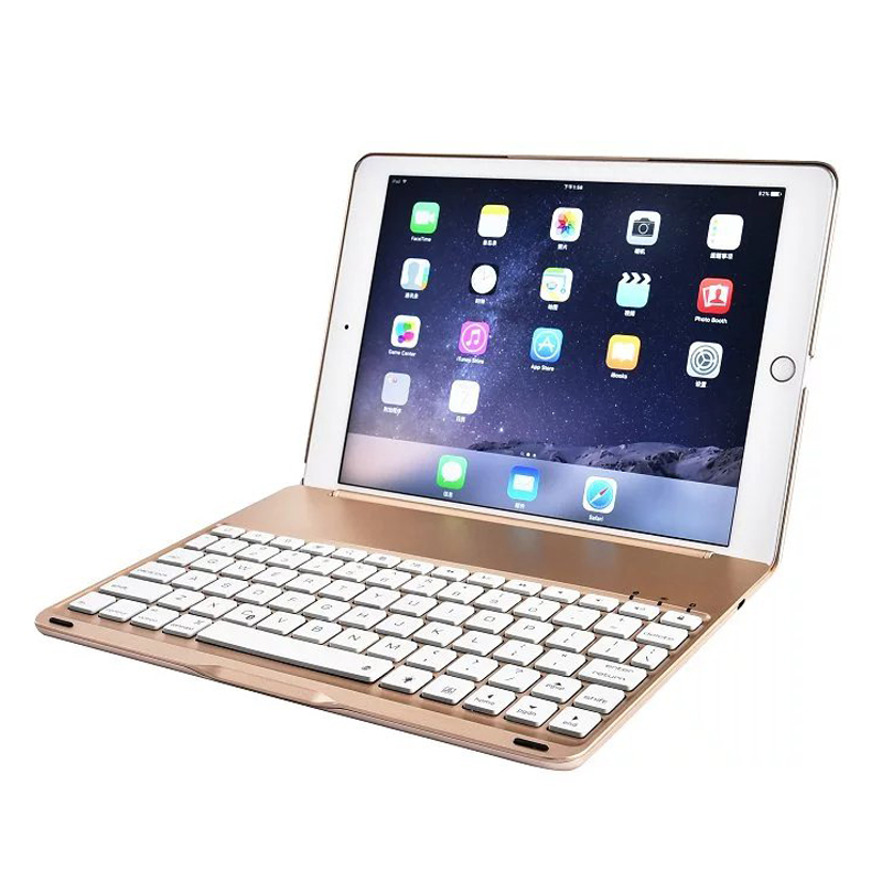 For iPad6 / For iPad 6 / Air2 A1566 A1567 7 Colors Backlit Wireless Bluetooth Keyboard Case Cover