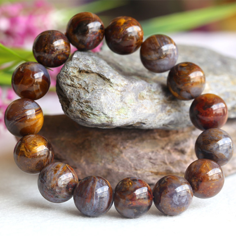Natural Genuine Brown Gold Pietersite Stretch Men's Stretch Finish Bracelet Round Big beads 14mm 04109 недорого