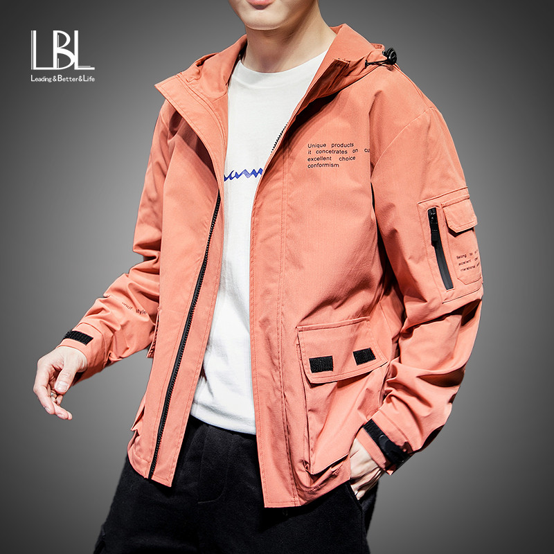 2019 Fashion Jacket Men Spring Autumn Casual Solid Ma 1 Zipper Bomber Jackets Orange Overcoat Baseball Mens Thin Pilot Jacket