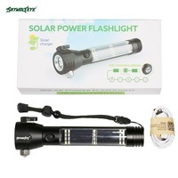 SKYWOLFEYE LED Solar Power Flashlights Torch Self Defense USB Power Bank Hammer Knife Outdoor Self Secure Camping with Compass