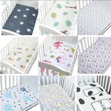 Хлопок, простыня для кроватки, мягкий дышащий матрас для детской кровати, покрывало с рисунком, для новорожденных, постельные принадлежности для кроватки, размер 130*70 см/105*60